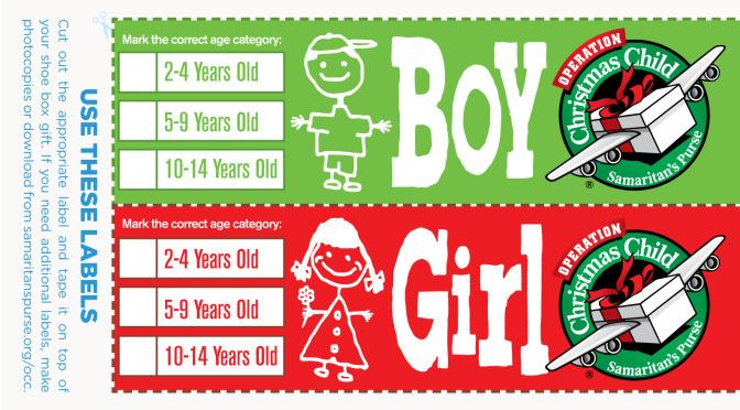 Operation Christmas Child Shoe Boxes