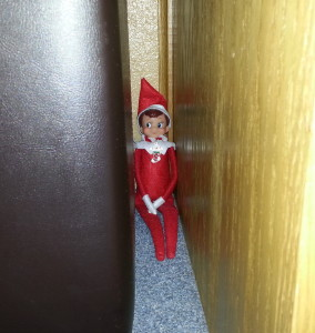 Elf on the Shelf hiding