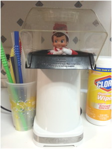 Elf on the Shelf in popcorn popper