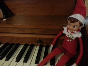 Today he's tickling the ivories.