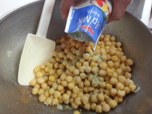 Adding ranch to chickpeas