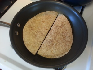 Cooking tuna quesadilla