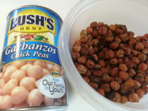Roasted Chickpeas before and after