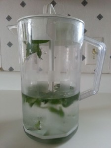 Pitcher with water and mint