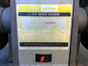 Sears Bench Grinder Label