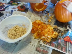 Carving pumpkins for the seeds