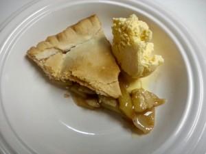 Slice of apple pie with ice cream