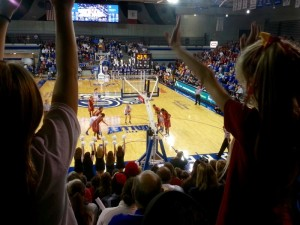 Cheering on the Iowa State Women's Basketball team