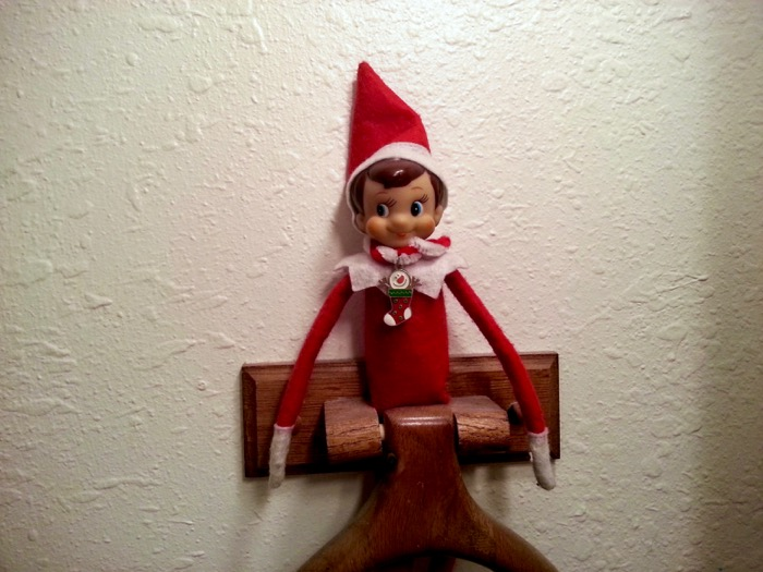 Elf on the Shelf in a Towl Rack