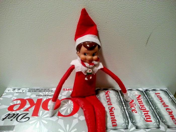 Elf on the Shelf on Diet Coke