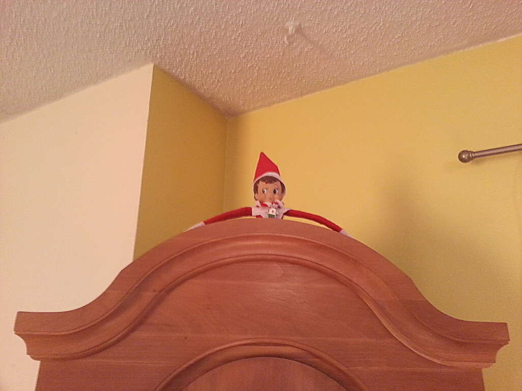 Our Elf on the Shelf has a great view from on top of our Grandfather clock