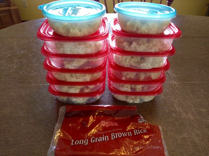 Prepared brown rice to freeze