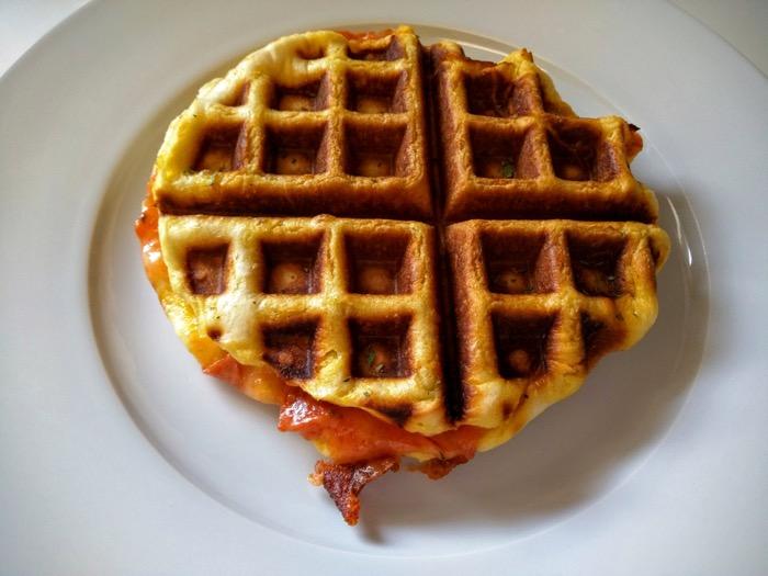 Finished pizza waffle