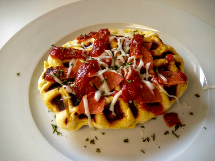 Plated pizza waffles