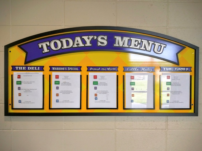 School Lunch Menu Board