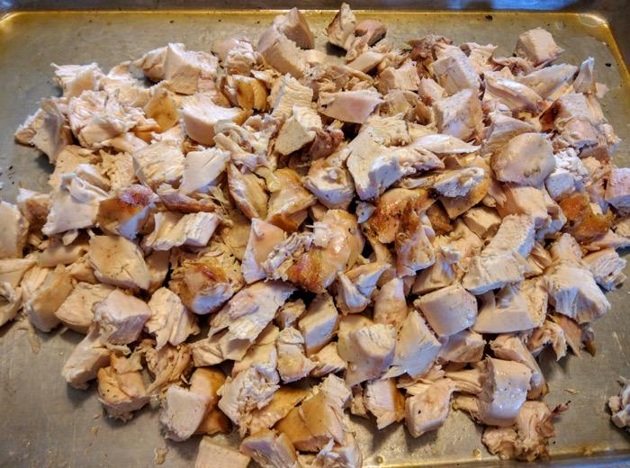 Cut up grilled chicken