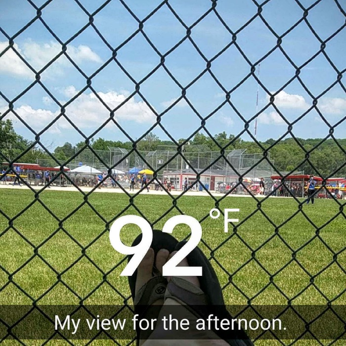 Hot afternoon for softball