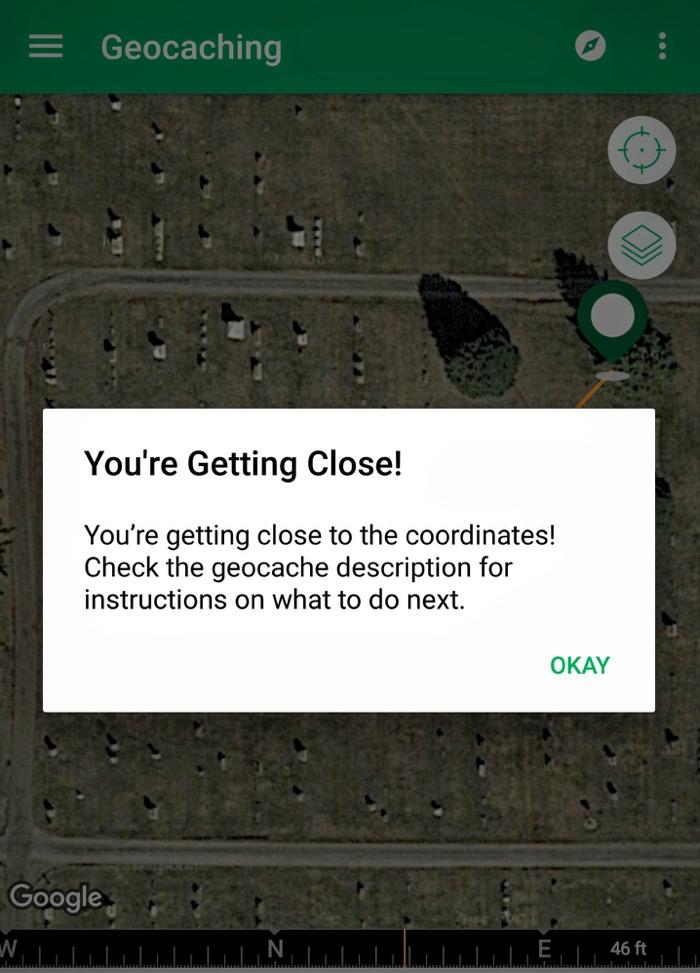 Geocaching App Screenshot Getting Close