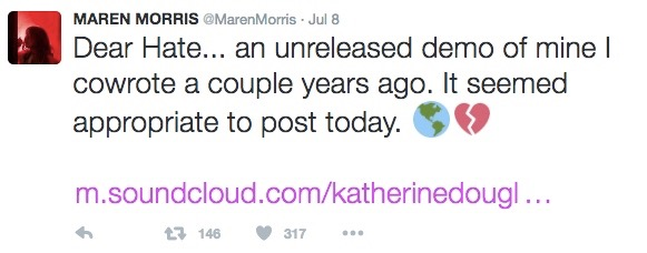 Marren Morris Dear Hate Tweet