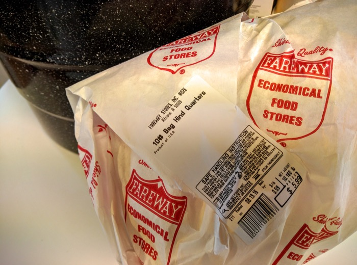 10 pound bag of chicken hindquarters from Fareway