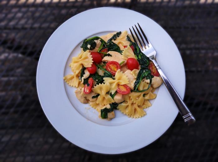 Plated VELVEETA One-Pan Chicken & Spinach Pasta